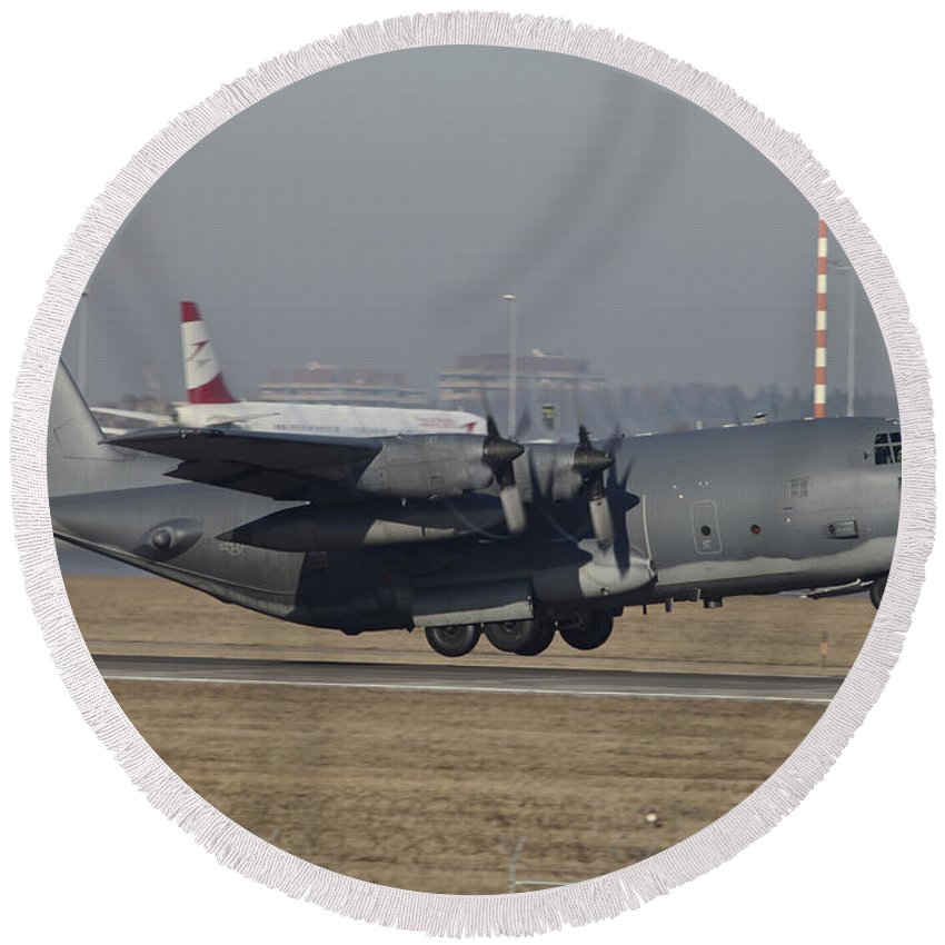 Germany Round Beach Towel featuring the photograph Mc-130h Combat Talon II Of The U.s. Air by Timm Ziegenthaler