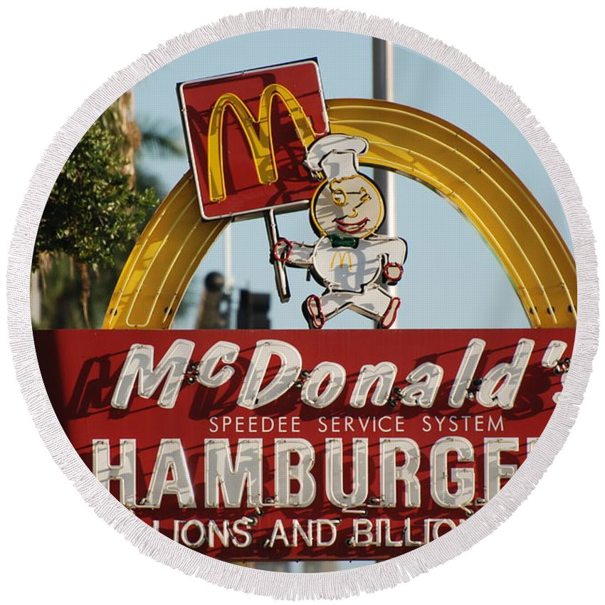 Mcdonalds Round Beach Towel featuring the photograph Mc Donalds by Rob Hans