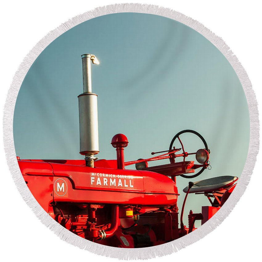 Tractor Round Beach Towels