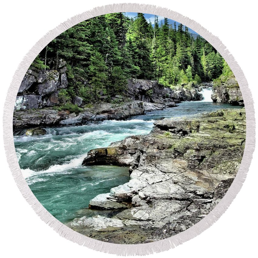 Water Round Beach Towel featuring the photograph Mcdonald Creek 2 by John Trommer