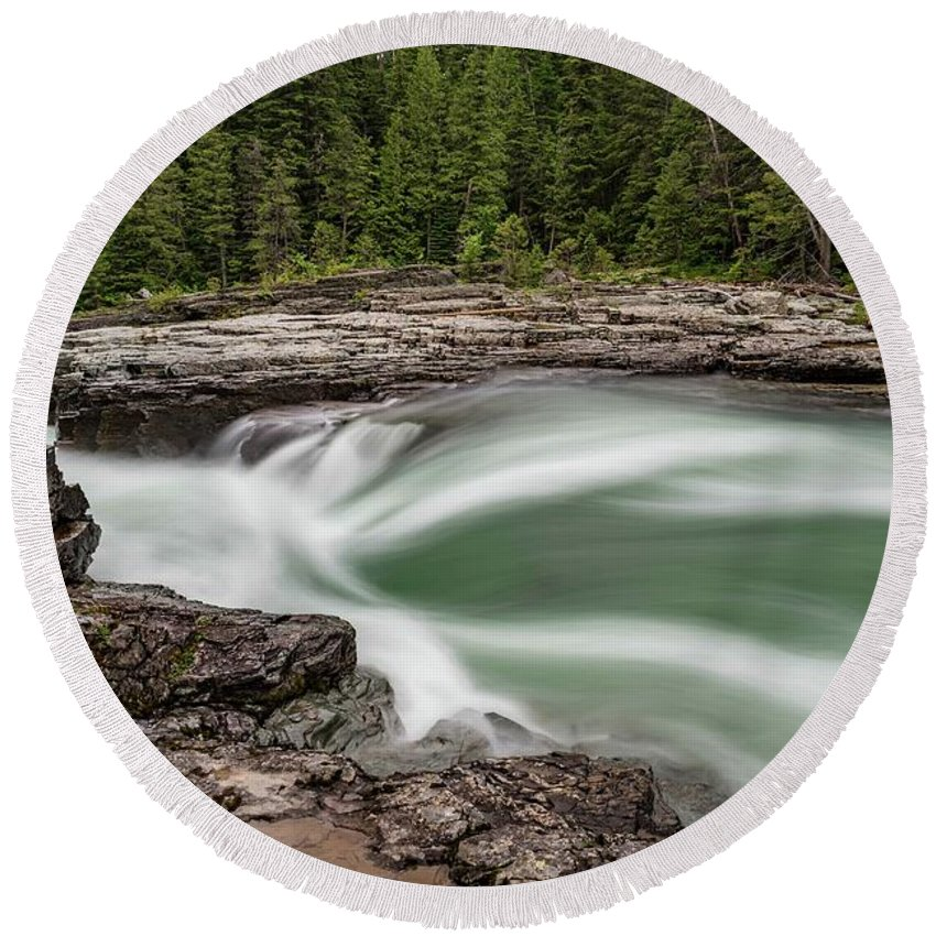 River Round Beach Towel featuring the photograph Mcdonald Creek by Bill Sincavage