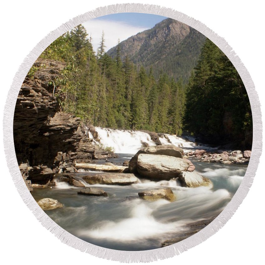Stream Round Beach Towel featuring the photograph Mcdonald Creek by Marty Koch