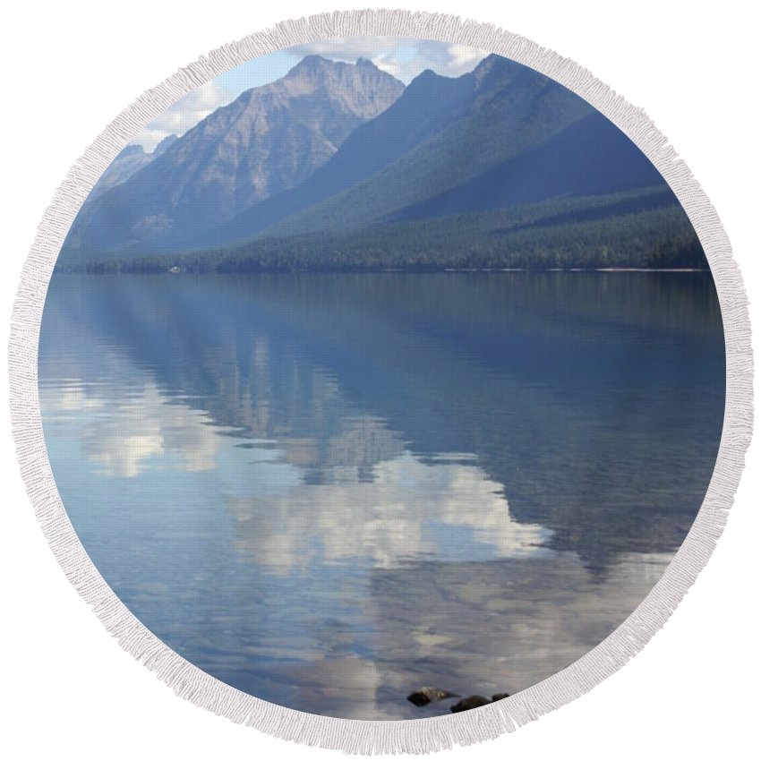 Lake Mcdonald Round Beach Towel featuring the photograph Mcdonald Reflection by Marty Koch