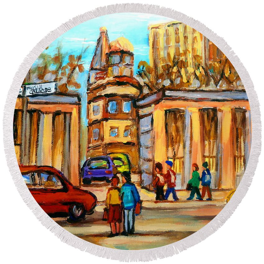 Montreal Cityscapes Round Beach Towel featuring the painting Mcgill Roddick Gates by Carole Spandau