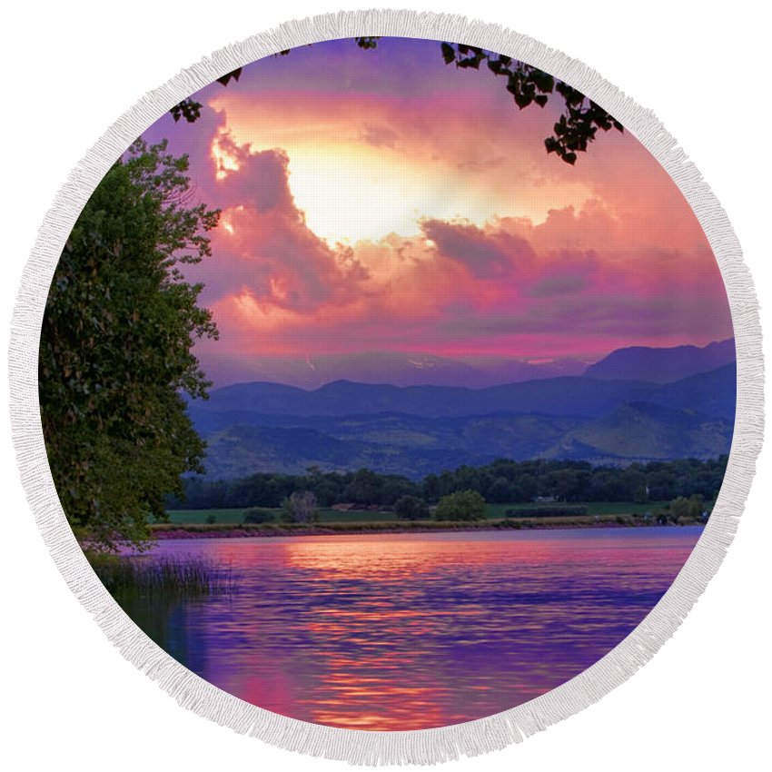 Sunsets Round Beach Towel featuring the photograph Mcintosh Lake Sunset by James BO Insogna