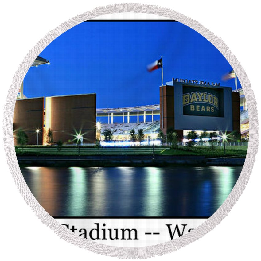Baylor Round Beach Towel featuring the photograph Mclane Stadium Print by Stephen Stookey