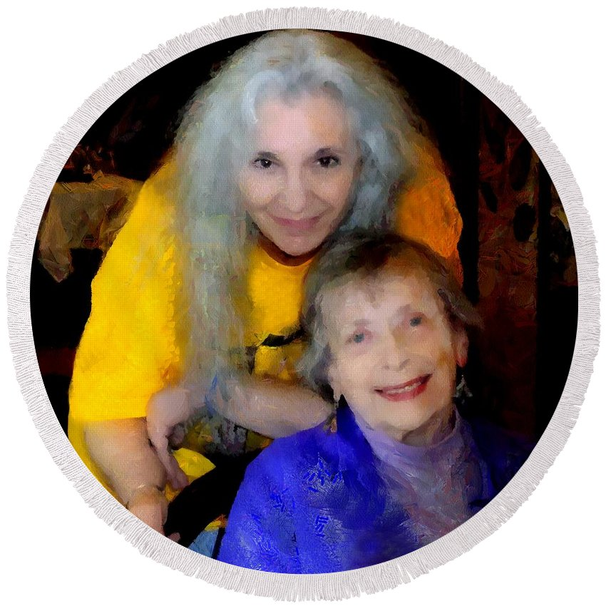 Colorful Round Beach Towel featuring the painting Me And B by RC DeWinter