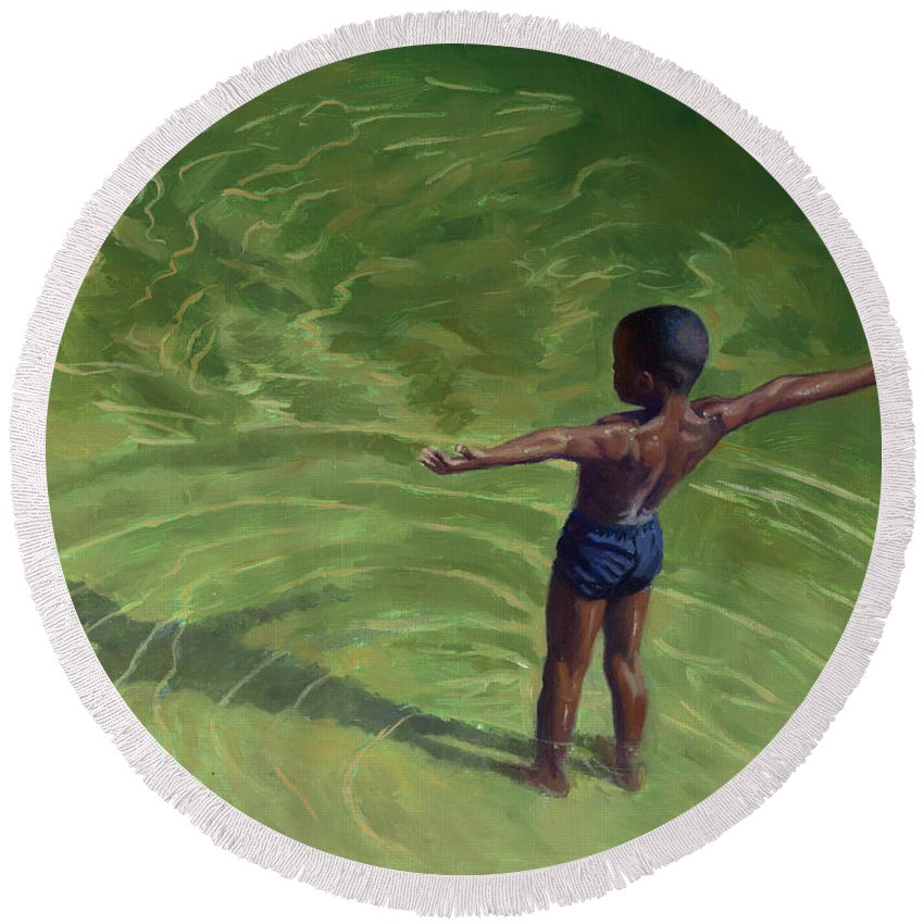 Child Round Beach Towel featuring the painting Me by Colin Bootman