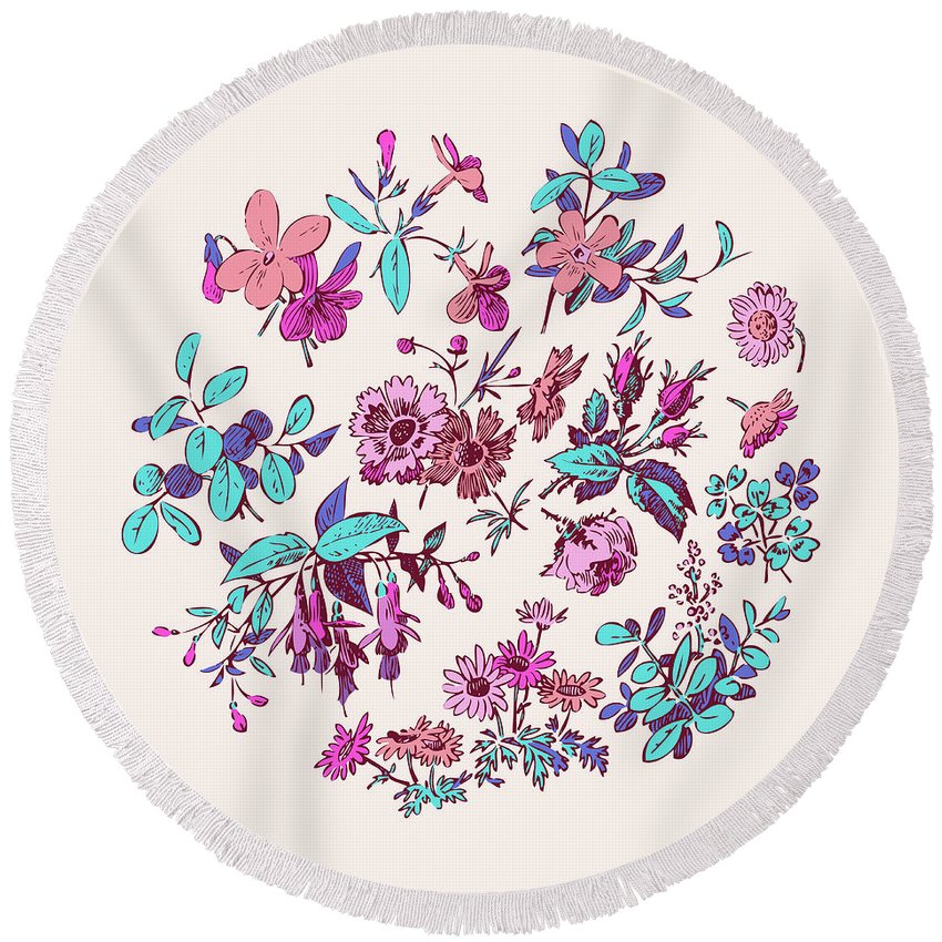 Floral Round Beach Towel featuring the digital art Meadow Flower And Leaf Wreath Isolated On Pink, Circle Doodle Fl by Svetlana Corghencea