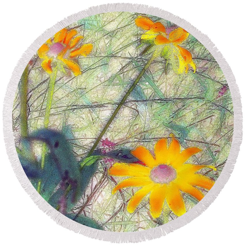 Bright Round Beach Towel featuring the painting Meadow Out Loud by RC DeWinter
