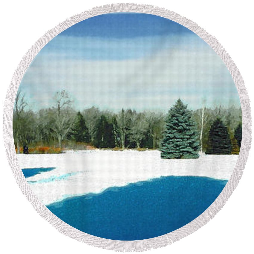 Landscape Round Beach Towel featuring the photograph Meadow Snow by Steve Karol