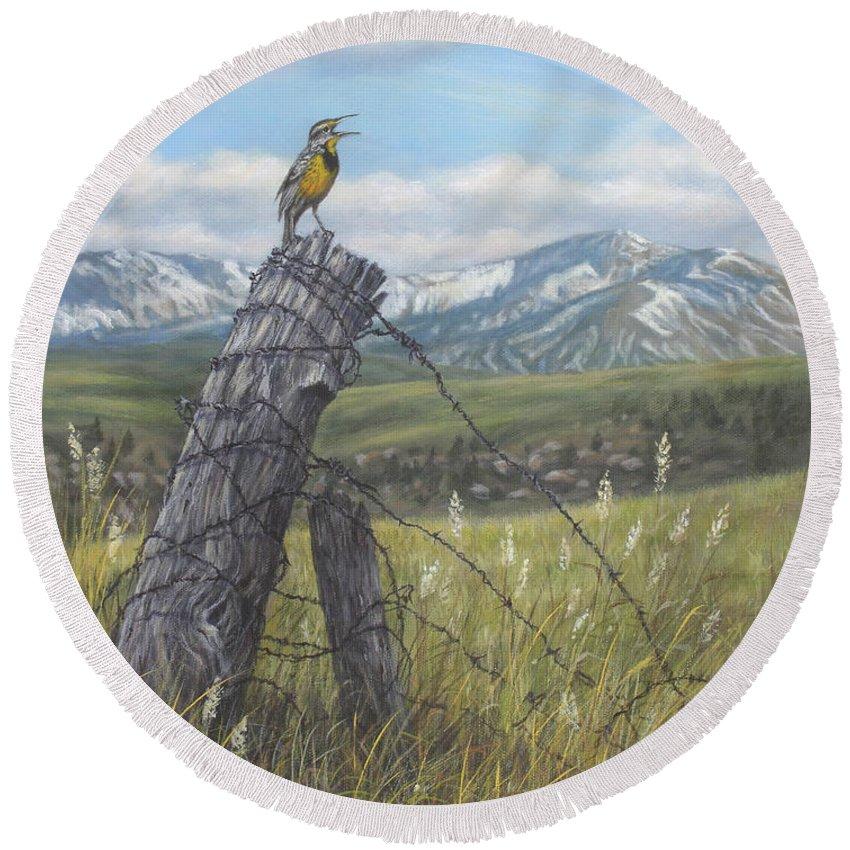 Meadowlark Round Beach Towel featuring the painting Meadowlark Serenade by Kim Lockman