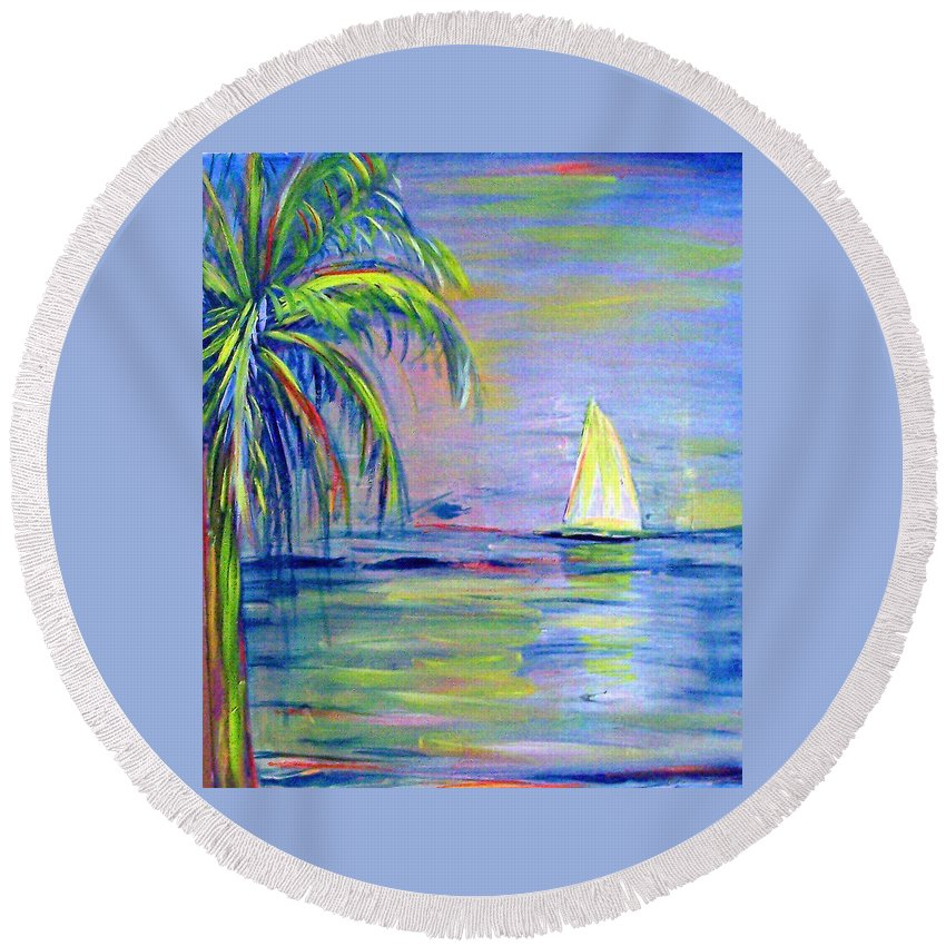 Seascape Round Beach Towel featuring the painting Meandering by Patricia Taylor