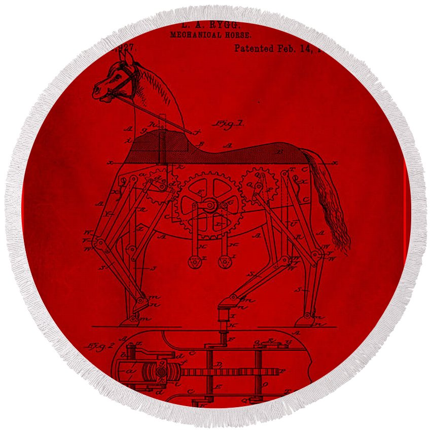 Patent Round Beach Towel featuring the mixed media Mechanical Horse Patent Art 1g by Brian Reaves