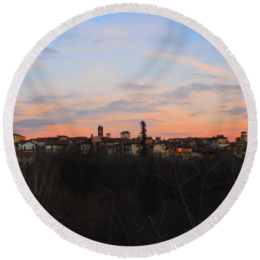 Sunset City Town Nature Landscape Cloud Italy Round Beach Towel featuring the photograph Mediaval Town by Matteo Patti