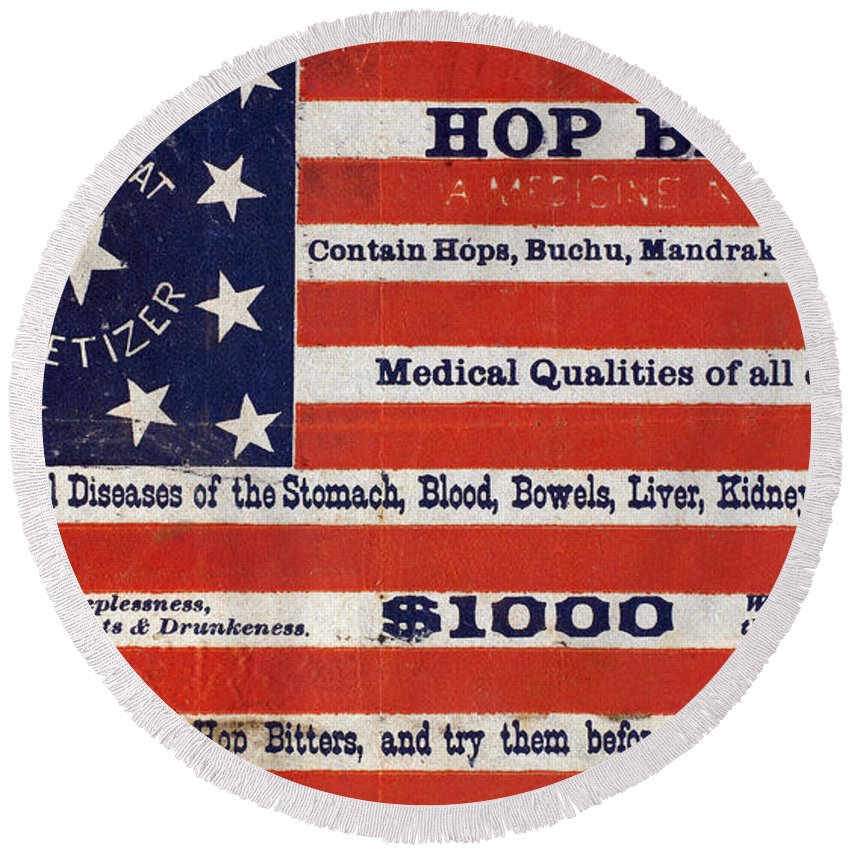 1900 Round Beach Towel featuring the photograph Medicine: Cough Cure by Granger