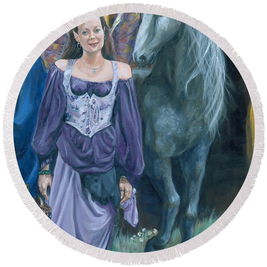 Fairy Faerie Unicorn Dragon Renaissance Festival Round Beach Towel featuring the painting Medieval Fantasy by Bryan Bustard