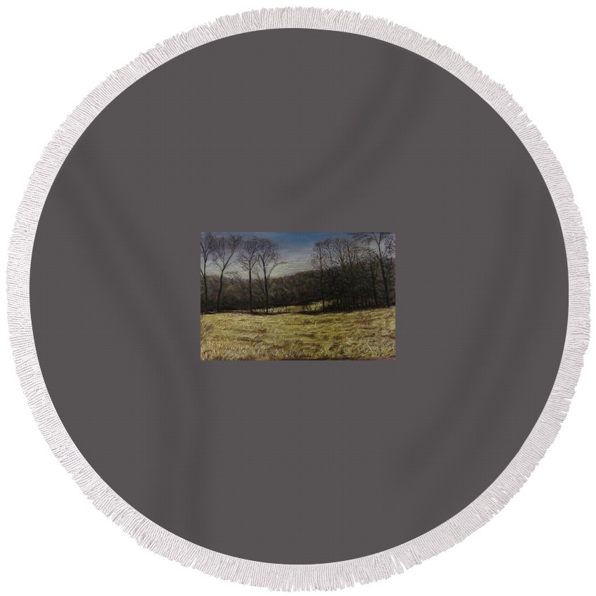 Landscape Round Beach Towel featuring the pastel Medina Cornfield by Pat Snook
