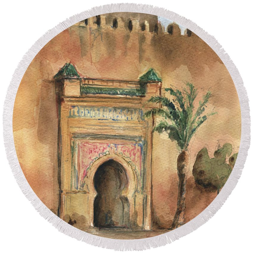 Morocco Art Round Beach Towel featuring the painting Medina Morocco, by Juan Bosco