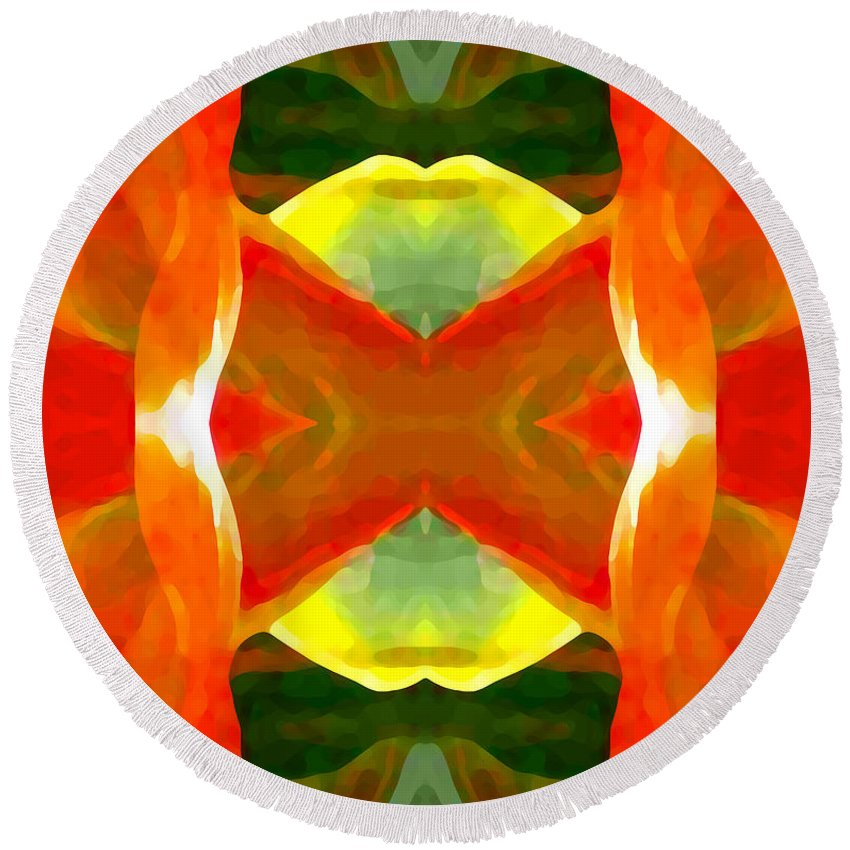 Abstract Round Beach Towel featuring the painting Meditation by Amy Vangsgard