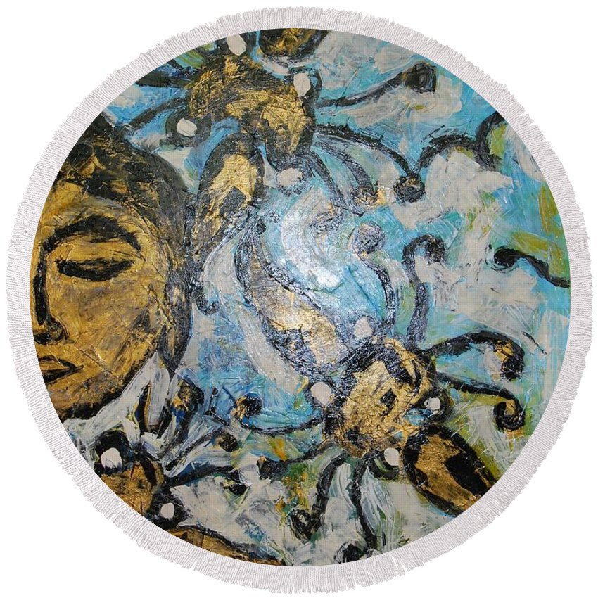 Face Round Beach Towel featuring the painting Meditation by Mihai Banutoiu