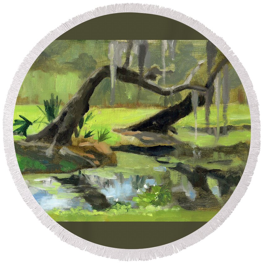 Landscape Round Beach Towel featuring the painting Meditative Swamp by Marie Garafano