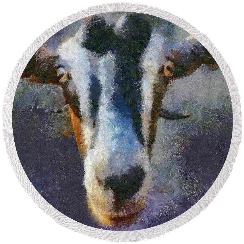 Expression Round Beach Towel featuring the painting Mediterranean Goat by Dragica Micki Fortuna