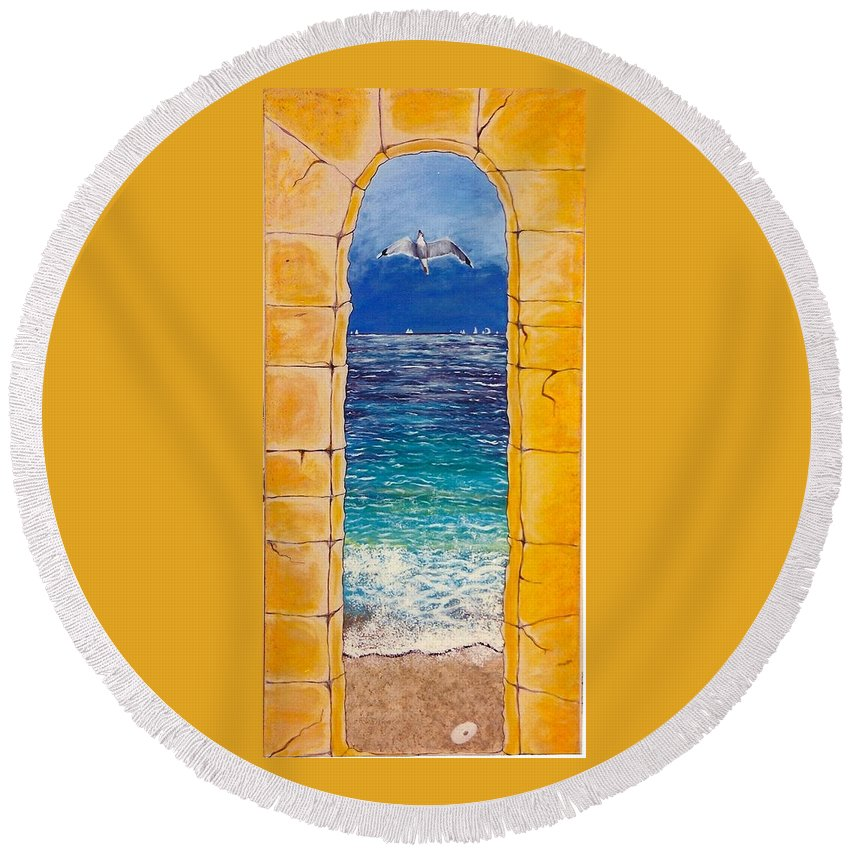 Beach Round Beach Towel featuring the painting Mediterranean Meditation by V Boge