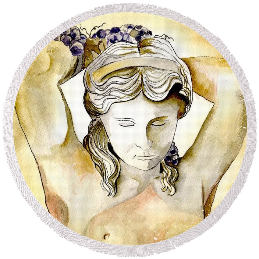 Watercolor Round Beach Towel featuring the painting Meditrina Goddess Of Wine by Brenda Owen