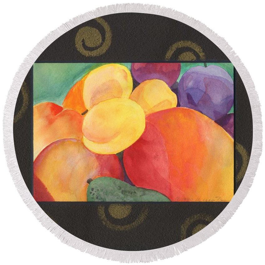 Fruit Round Beach Towel featuring the painting Medley by Helena Tiainen