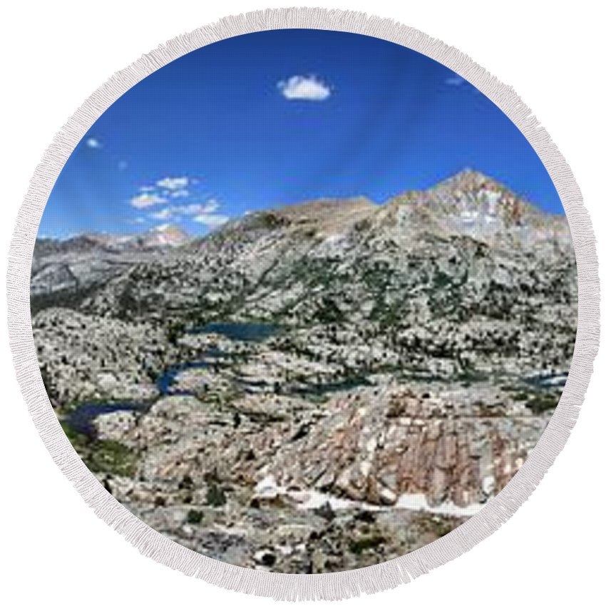 Sierra Round Beach Towel featuring the photograph Medley Lake Basin Panorama From High Above - Sierra by Bruce Lemons