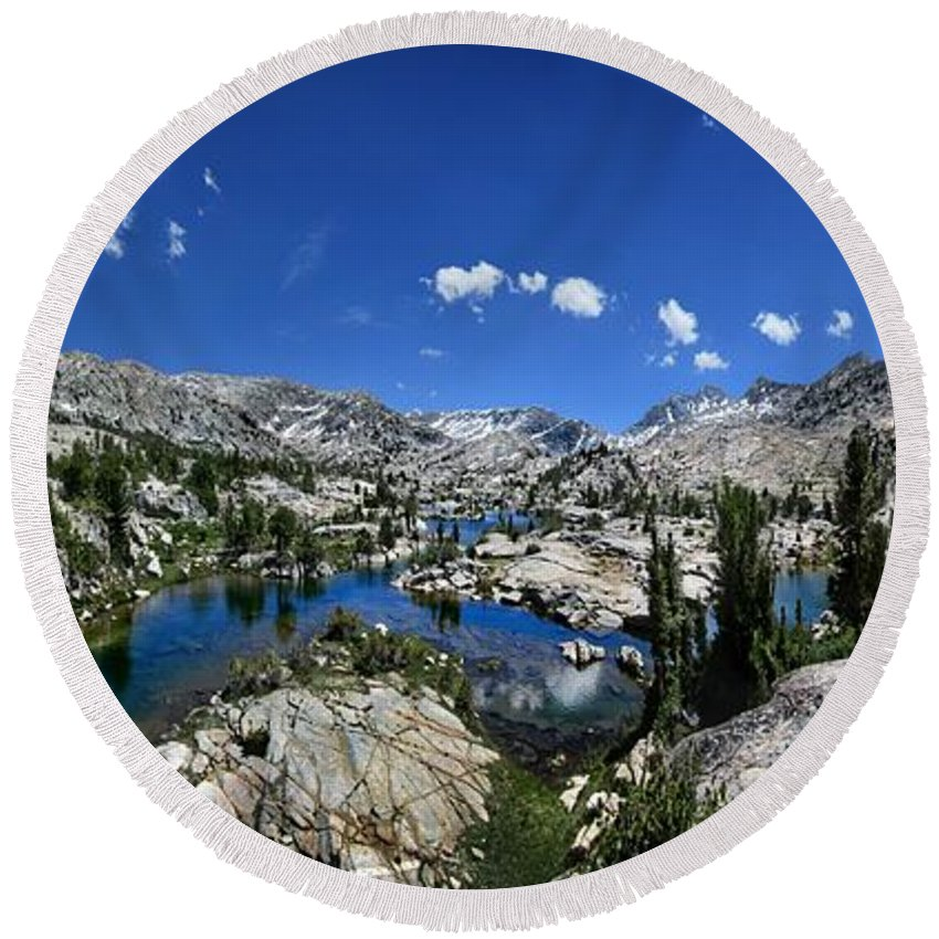 Sierra Round Beach Towel featuring the photograph Medley Lake - Sierra by Bruce Lemons