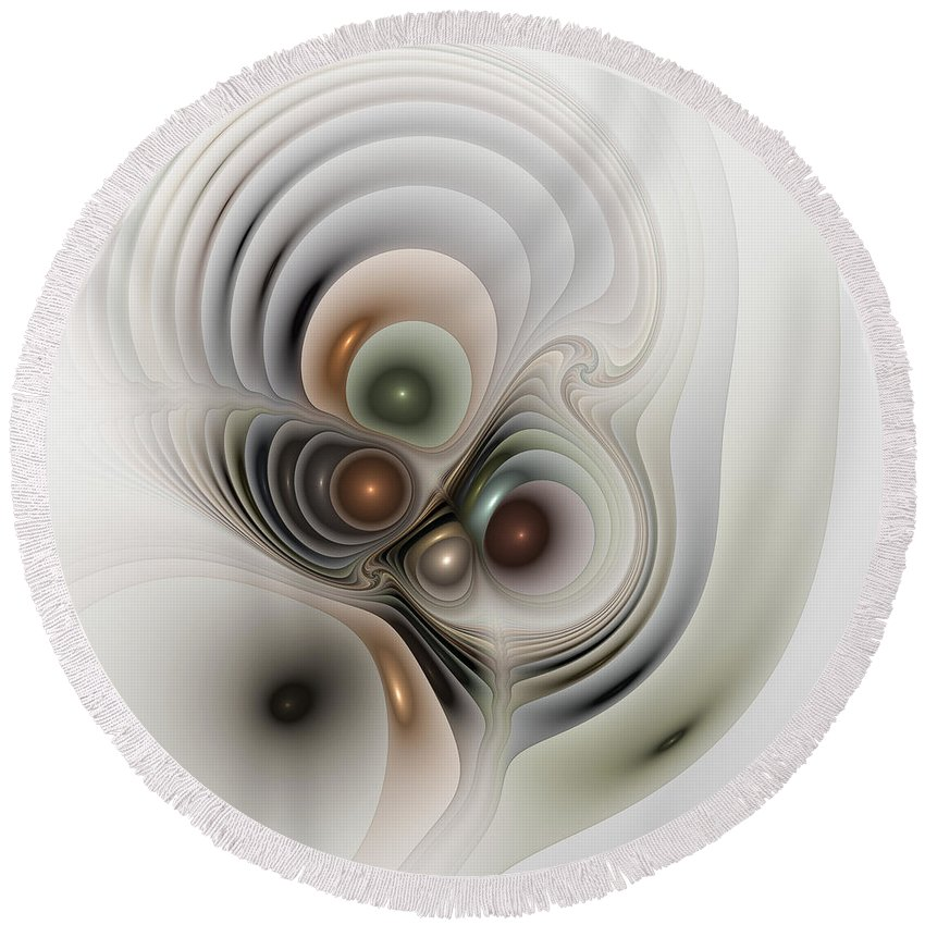 Abstract Round Beach Towel featuring the digital art Medulla by Casey Kotas
