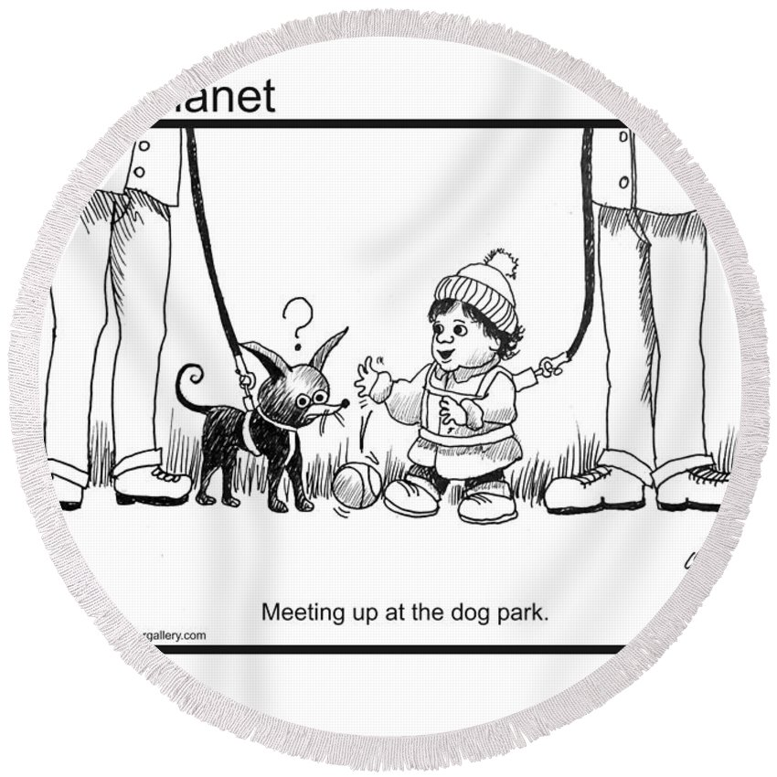 Child Round Beach Towel featuring the drawing Meeting Up In Dog Park by Christopher Shellhammer