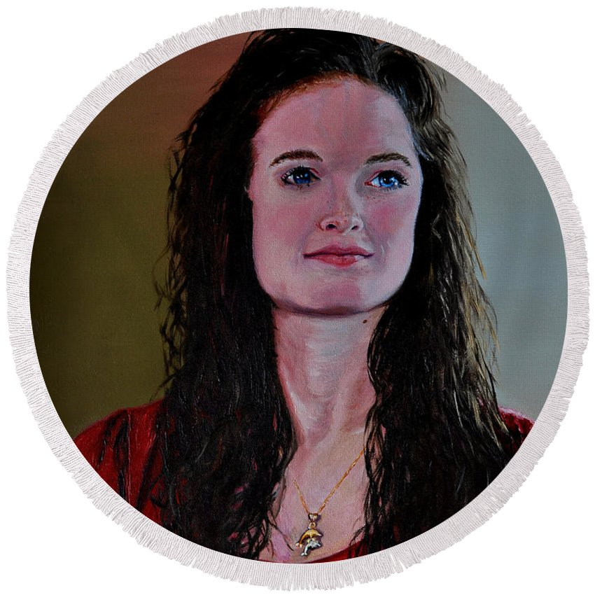 Woman Round Beach Towel featuring the painting Megan At Eighteen by Stan Hamilton