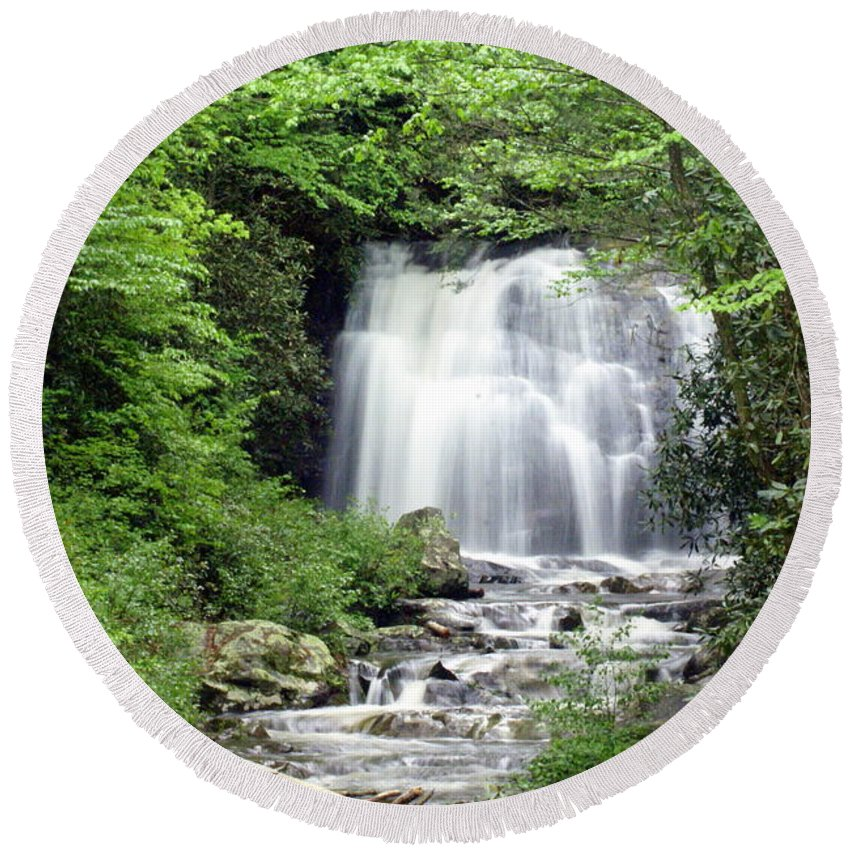 Meigs Falls Round Beach Towel featuring the photograph Meigs Falls by Marty Koch