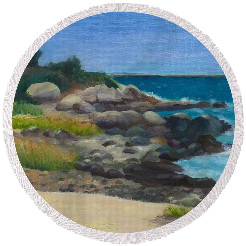 Landscape Round Beach Towel featuring the painting Meigs Point by Paula Emery