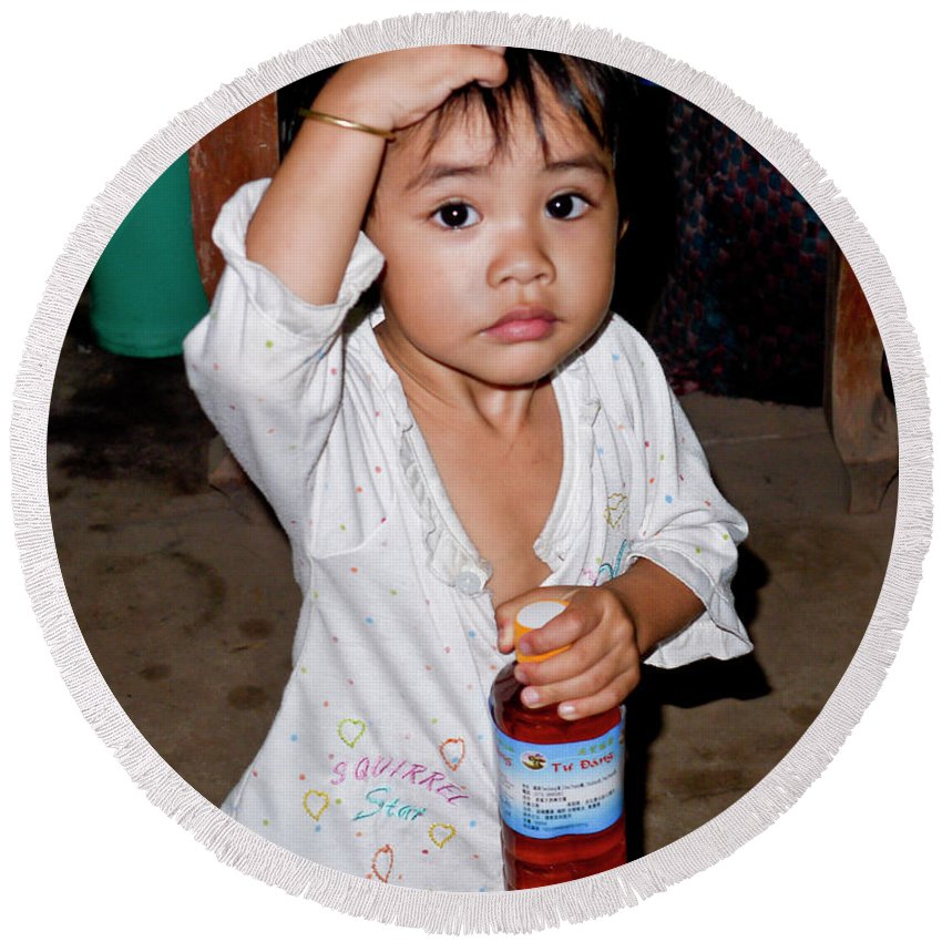 Portrait Round Beach Towel featuring the photograph Mekon Delta Child by Stan Roban