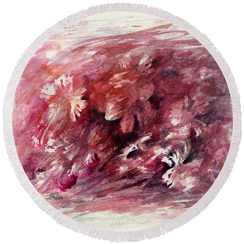 Floral Round Beach Towel featuring the painting Melancholic Moment by Rachel Christine Nowicki