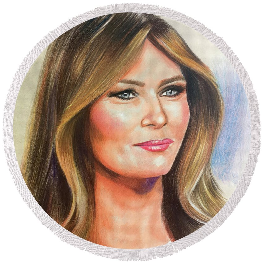 Acrylic Stylized Graphic Pastel Realism Fashion Watercolor Charcoal Figurative Corporate Editorial People Book Covers Icons Family Portrait Trump Melania Patriotic President Politics Tower Real Estate Art Of The Deal Forbes Million Billion Primary Constitution Make America Great Again Media Business Trade Deal Social Foreign Domestic Israel Prisoner Swap Wall Taxes Governmentposters Travel Celebrities Product Feminine Leisure Vintage Retro Web Children Lifestyle Colored Pencil Round Beach Towel featuring the drawing Melania Trump by Robert Korhonen