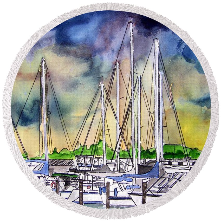 Boat Round Beach Towel featuring the digital art Melbourne Florida Marina by Derek Mccrea