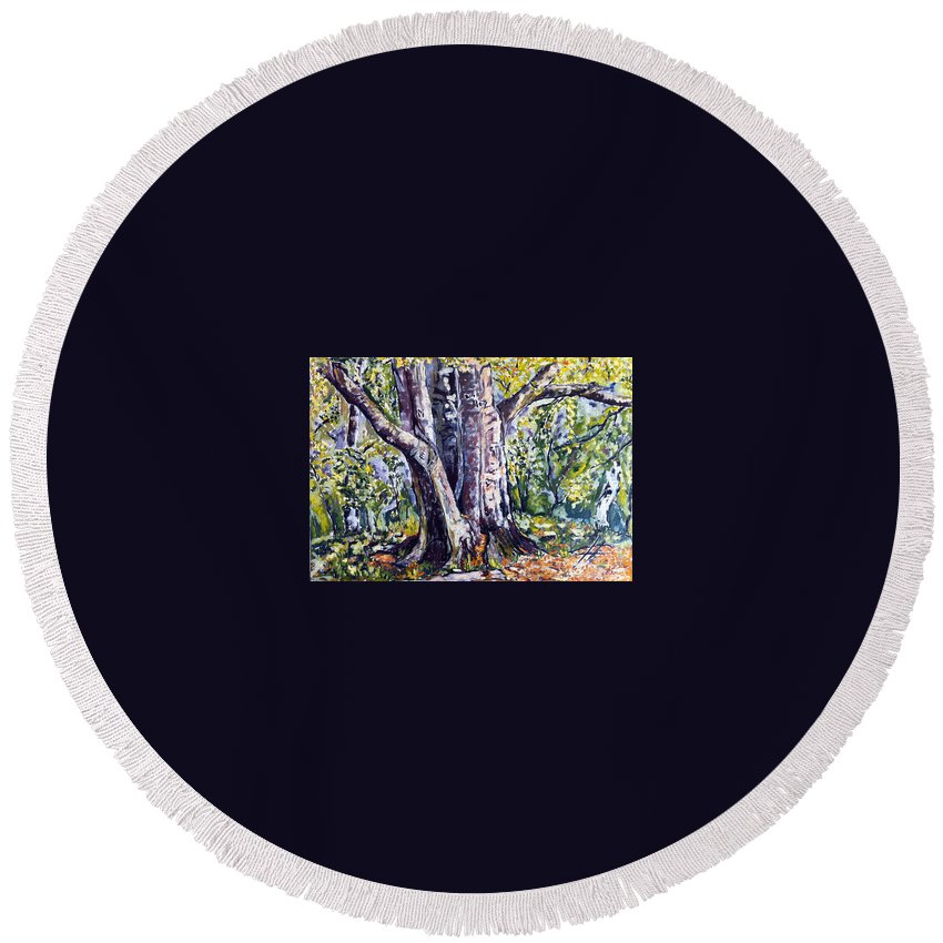 Landscape Round Beach Towel featuring the painting Melch by Pablo de Choros