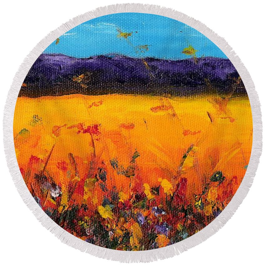 Meadows Round Beach Towel featuring the painting Melissa's Meadow by Frances Marino
