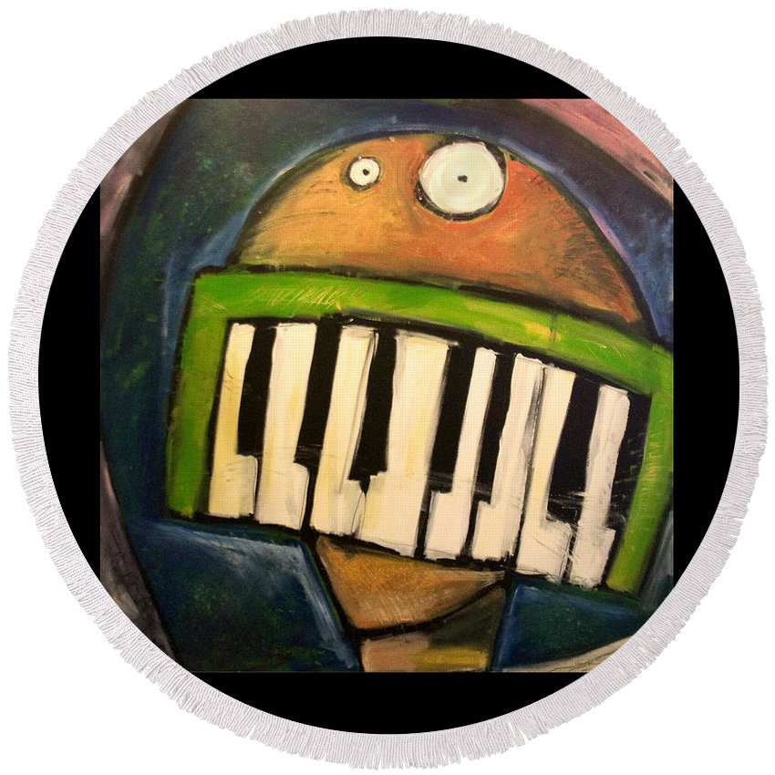 Funny Round Beach Towel featuring the painting Melodica Mouth by Tim Nyberg