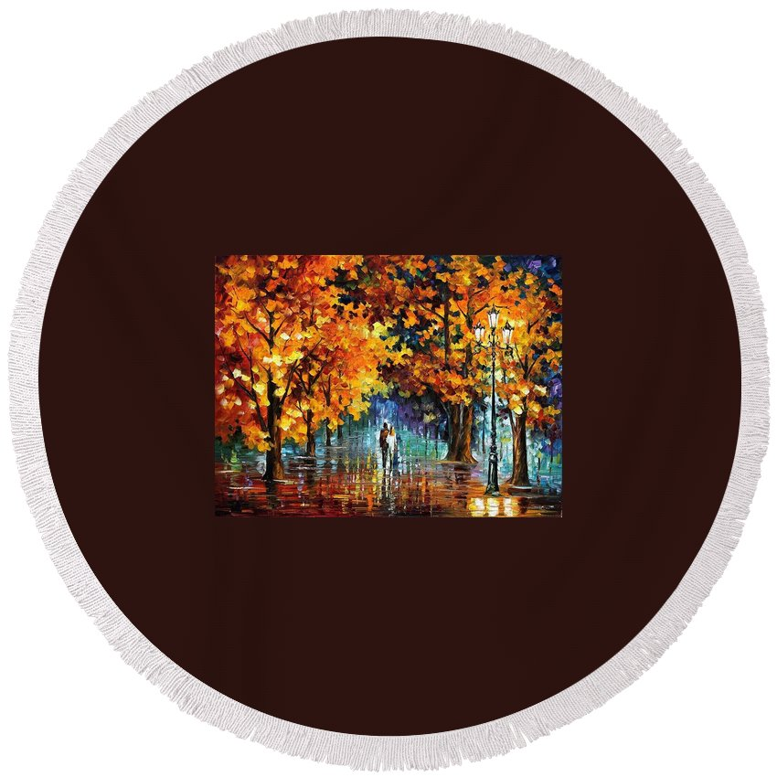 Afremov Round Beach Towel featuring the painting Melodies From The Past by Leonid Afremov