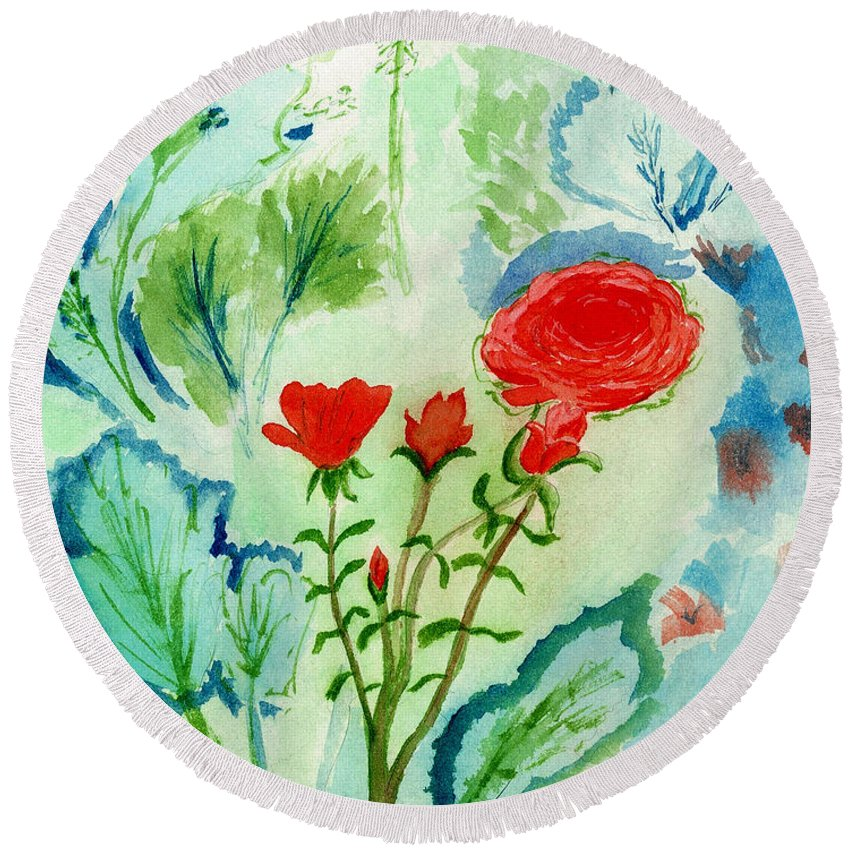 Flowers Round Beach Towel featuring the painting Melody Of Color by Kate Hopson