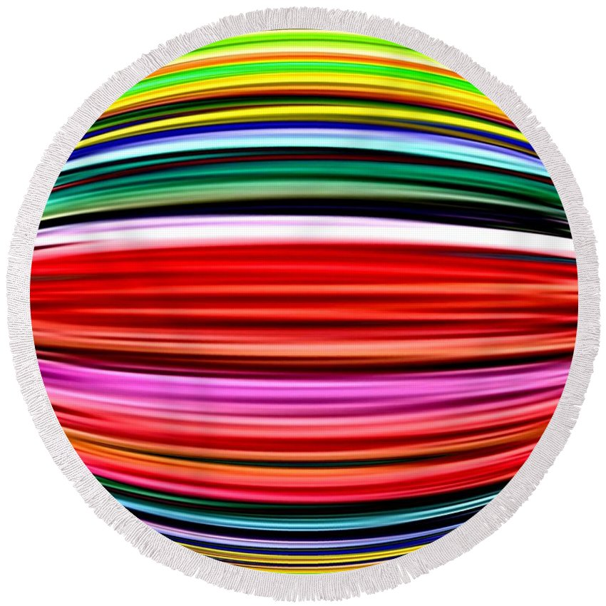 Abstract Round Beach Towel featuring the digital art Melon Mania by Will Borden