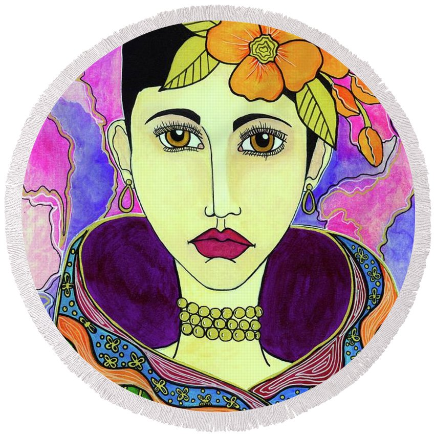 Woman Painting Round Beach Towel featuring the painting Melora by Sarena Mantz