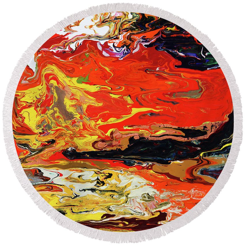 Fusionart Round Beach Towel featuring the painting Melt by Ralph White