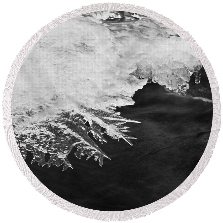 Ice Round Beach Towel featuring the photograph Melting Creek by Amber Flowers